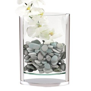 Unique 14-inch Polished Aluminum and Glass Vase