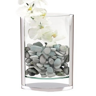 The Donald 14-inch Polished Aluminum and Glass Pocket Vase