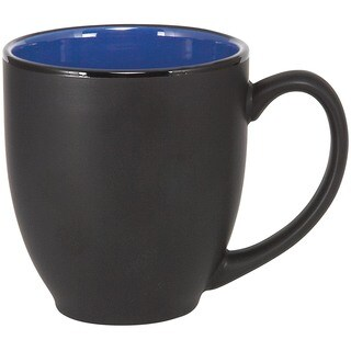 Bistro Ceramic Large Matte Black with Blue Interior 16 oz. Coffee and Tea Mug (Pack of 4)