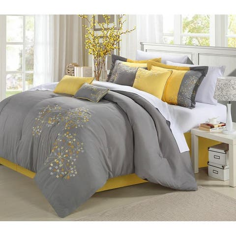 Porch & Den Phinney Floral Yellow 8-piece Comforter Set