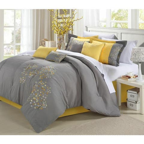 Porch & Den Phinney Floral Yellow 8-piece Comforter Set