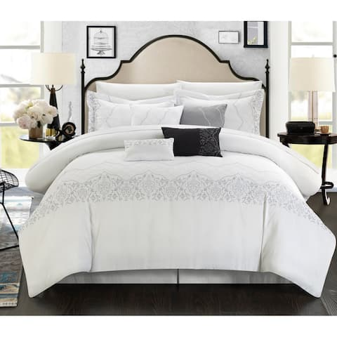 Copper Grove Klaskish Embroidered 8-piece White Comforter Set