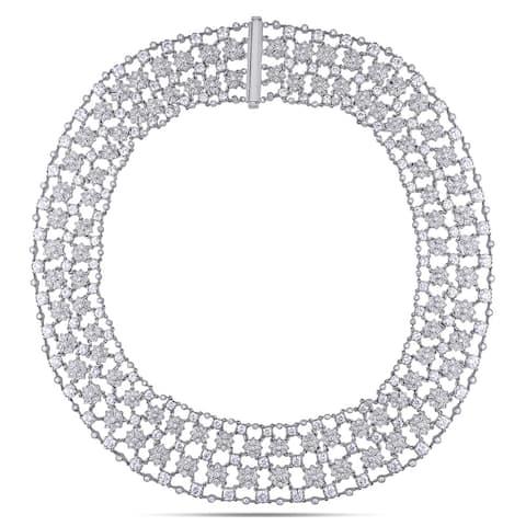 Miadora Signature Collection 18k White Gold 28ct TDW Diamond Necklace