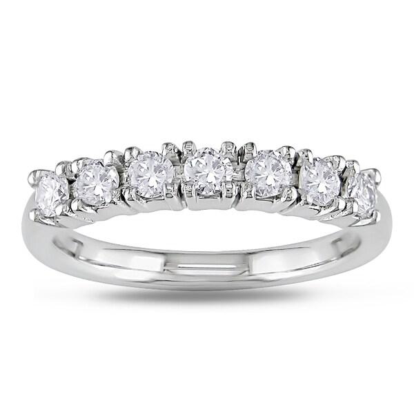 Miadora 18k White Gold 1/2ct TDW Diamond Semi-eternity Ring (G-H, VS1-VS2)