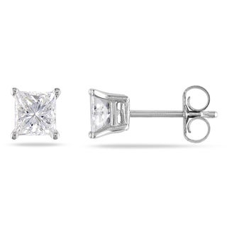 Miadora Signature Collection 14k White Gold 1ct TDW Diamond Solitaire Earrings