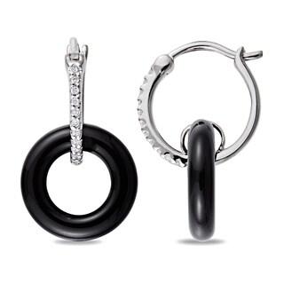 Miadora Sterling Silver Black Onyx and 1/10ct TDW Diamond Earrings (H-I, I3)