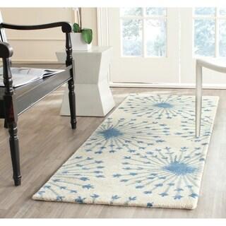 Safavieh Handmade Bella Beige/ Blue Wool Rug (2'3 x 7')