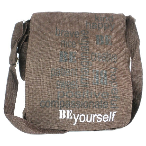 087429b33b Shop Handmade Brown Jute  BE Yourself  Messenger Bag (India) - Free  Shipping On Orders Over  45 - Overstock.com - 8539250
