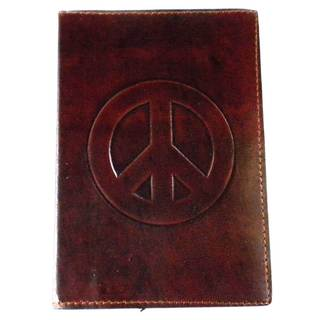Handmade Peace Embossed Leather Journal (India)