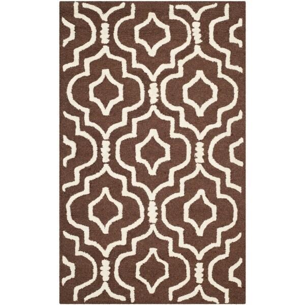 Safavieh Handmade Moroccan Cambridge Dark Brown/ Ivory Wool Rug - 2' x 3'