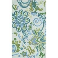 "Safavieh Hand-loomed Cedar Brook Light Blue/ Green Cotton Rug - 2'6"" x 4'"