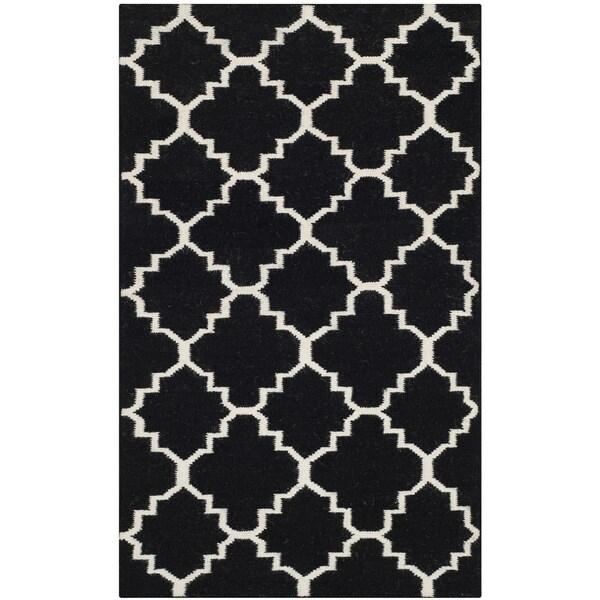 Safavieh Hand-woven Moroccan Reversible Dhurries Black/ Ivory Wool Rug (2'6 x 4')