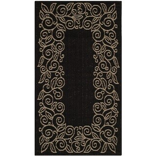 Safavieh Courtyard Scroll Border Black/ Beige Indoor/ Outdoor Rug (2' x 3'7)