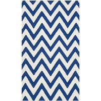 Safavieh Handwoven Moroccan Reversible Dhurries Blue/ Ivory Wool Accent Rug - 2'6 x 4'