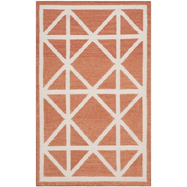 Safavieh Hand-woven Moroccan Reversible Dhurries Red/ Ivory Wool Rug - 2'6 x 4'