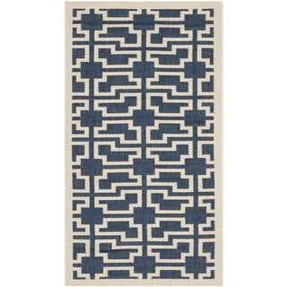 Safavieh Courtyard Geometric Navy/ Beige Indoor/ Outdoor Rug - 2' x 3'7