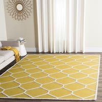 Safavieh Handmade Moroccan Cambridge Collection Gold/ Ivory Wool Rug - 6' Square