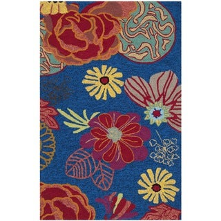 Safavieh Hand-Hooked Four Seasons Blue/ Red Polyester Rug (2'6 x 4')