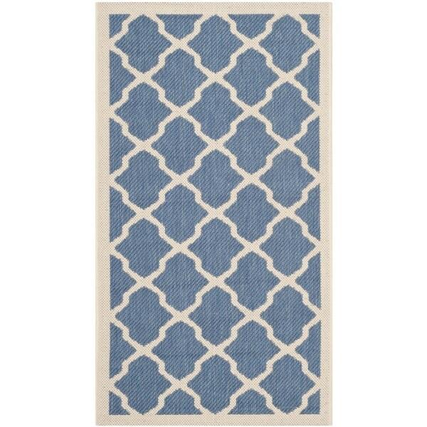 Safavieh Courtyard Moroccan Trellis Blue/ Beige Indoor/ Outdoor Rug (2' x 3'7)