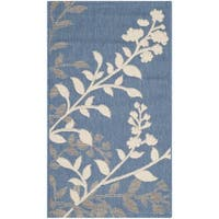 Safavieh Indoor/ Outdoor Courtyard Soft Blue/ Beige Rug - 2' x 3'7