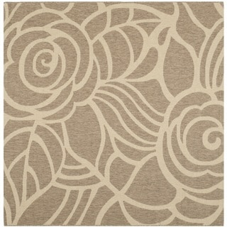 Safavieh Courtyard Roses Coffee/ Sand Indoor/ Outdoor Rug (6'7 Square)