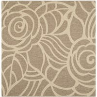 Safavieh Courtyard Roses Coffee/ Sand Indoor/ Outdoor Rug - 6'7 Square