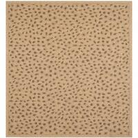 Safavieh Courtyard Natural/ Leopard Print Indoor/ Outdoor Rug - 6' 7 Square