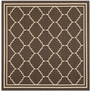 Safavieh Courtyard Transitional Chocolate/ Cream Indoor/ Outdoor Rug (6'7 Square)