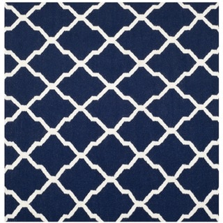 Safavieh Hand-woven Moroccan Reversible Dhurries Navy/ Ivory Wool Rug (6' Square)