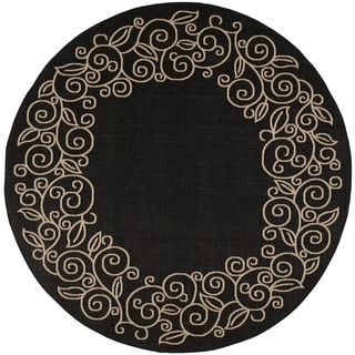 Safavieh Courtyard Scroll Border Black/ Beige Indoor/ Outdoor Rug (7'10 Round