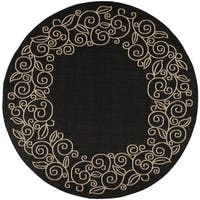 Safavieh Courtyard Scroll Border Black/ Beige Indoor/ Outdoor Rug - 7'10 Round