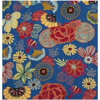 Safavieh Indoor/ Outdoor Four Seasons Blue/ Red Rug (6' Square)