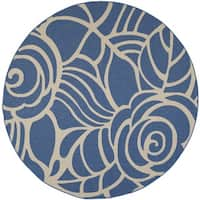 Safavieh Courtyard Roses Blue/ Beige Indoor/ Outdoor Rug - 7'10 Round
