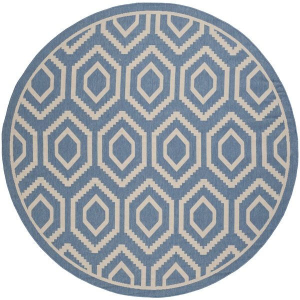 Safavieh Courtyard Honeycomb Blue/ Beige Indoor/ Outdoor Rug (7'10 Round)