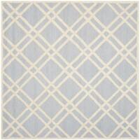 Safavieh Handmade Moroccan Cambridge Contemporary Light Blue/ Ivory Wool Rug - 8' x 8' Square
