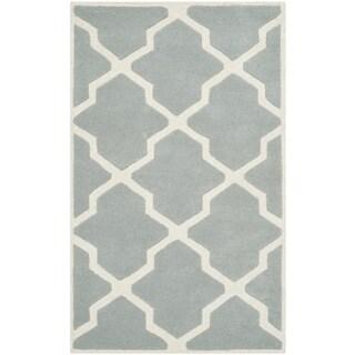 Safavieh Handmade Moroccan Chatham Grey/ Ivory Geometric Wool Rug (3' x 5')