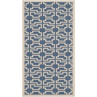 Safavieh Courtyard Geometric Blue/ Beige Indoor/ Outdoor Rug (2'7 x 5')