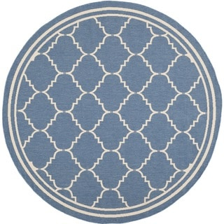 Safavieh Courtyard Transitional Blue/ Beige Indoor/ Outdoor Rug (6'7 Round)