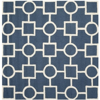 Safavieh Handmade Moroccan Cambridge Squares-and-circles Navy/ Ivory Wool Rug (8' Square)