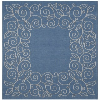 Safavieh Courtyard Scroll Border Blue/ Beige Indoor/ Outdoor Rug (6'7 Square)