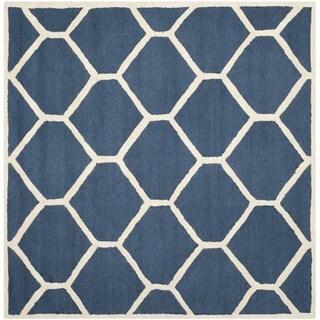 Safavieh Handmade Moroccan Cambridge Geometric-pattern Navy/ Ivory Wool Rug (8' Square)
