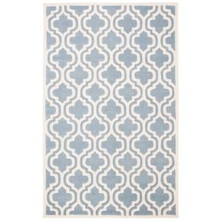 Safavieh Handmade Moroccan Chatham Blue/ Ivory Wool Geometric-pattern Rug (4' x 6')