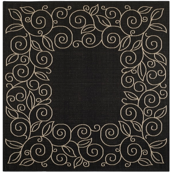 Safavieh Courtyard Scroll Border Black Beige Indoor Outdoor Rug 7x27
