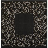 Safavieh Courtyard Scroll Border Black/ Beige Indoor/ Outdoor Rug - 7'10 Square