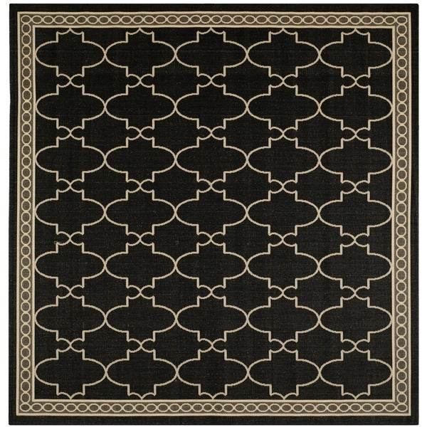 Indoor Outdoor Rugs Square: Shop Safavieh Courtyard Trellis All-Weather Black/ Beige