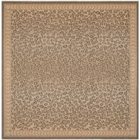 Safavieh Courtyard Natural/ Gold Leopard Print Indoor/ Outdoor Rug - 7'10 Square