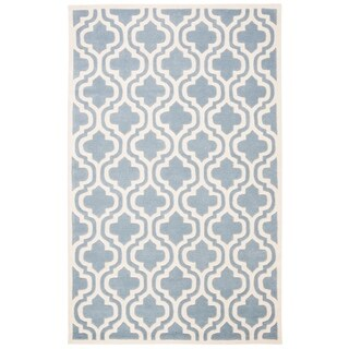Safavieh Handmade Moroccan Chatham Geometric-pattern Blue/ Ivory Wool Rug (5' x 8')