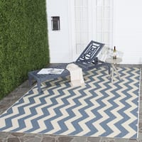 Safavieh Courtyard Zig-Zag Blue/ Beige Indoor/ Outdoor Rug - 7'10 Square
