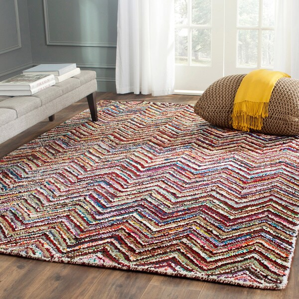 Safavieh Handmade Nantucket Abstract Chevron Multicolored Cotton Rug (5' x 8')