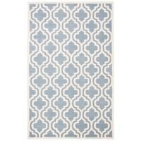 Safavieh Handmade Moroccan Chatham Blue/ Ivory Geometric-pattern Wool Rug - 6' x 9'